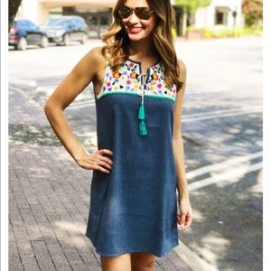 THML Blue Dress with floral pattern